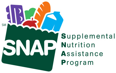 Graphic design shows the logo of the Supplemental Nutrition Assistance Program (SNAP) which features a green bag full of groceries, such as a milk carton, egg carton, bread,fruit and vegetables in solid colors in stencil form next to the words that make up the acronym SNAP.