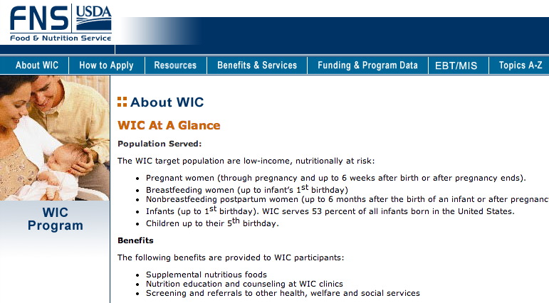 A screen grab from the USDA's website shows information about the WIC program at a glance. Click on the photo to go to the USDA website.