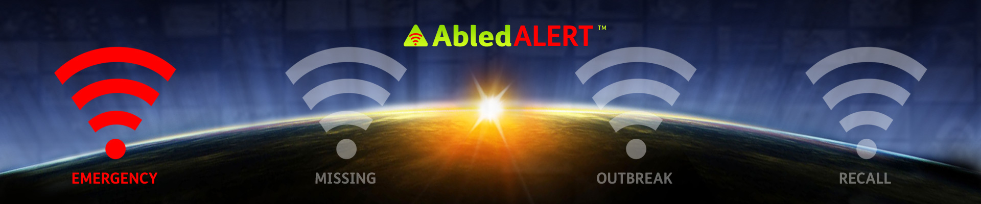 AbledALert Banner with the alert signal for EMERGENCY highlighted.
