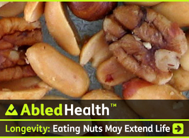 AbledHealth link banner shows a selection of mixed nuts on a glass background with the headline: Longevity-Eating nuts may prolong life. Click to go to the story.