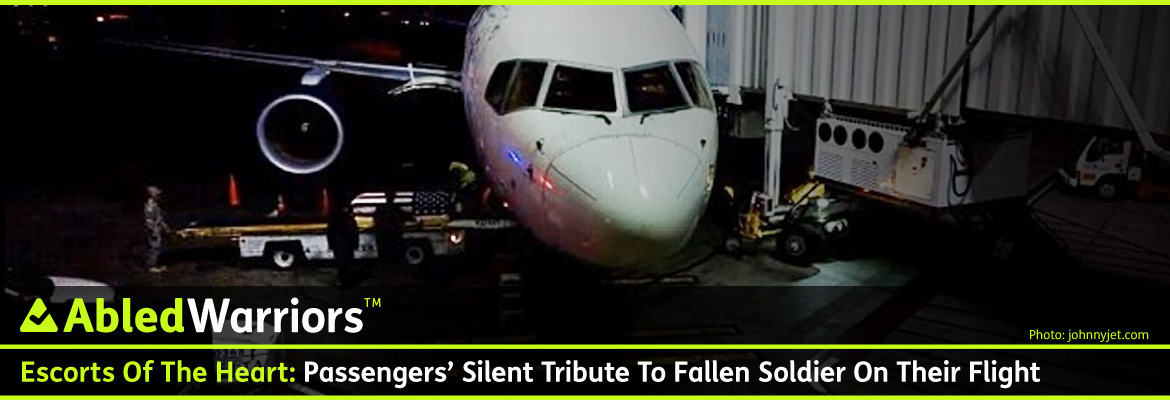 AbledWarriors - post banner shows an Armed Forces Honor Guard meeint a fallen serviceman's coffin draped in a US Flag as it is unloaded from the cargo hold of a flight at the terminal gate at LAX Airport in Los Angeles.