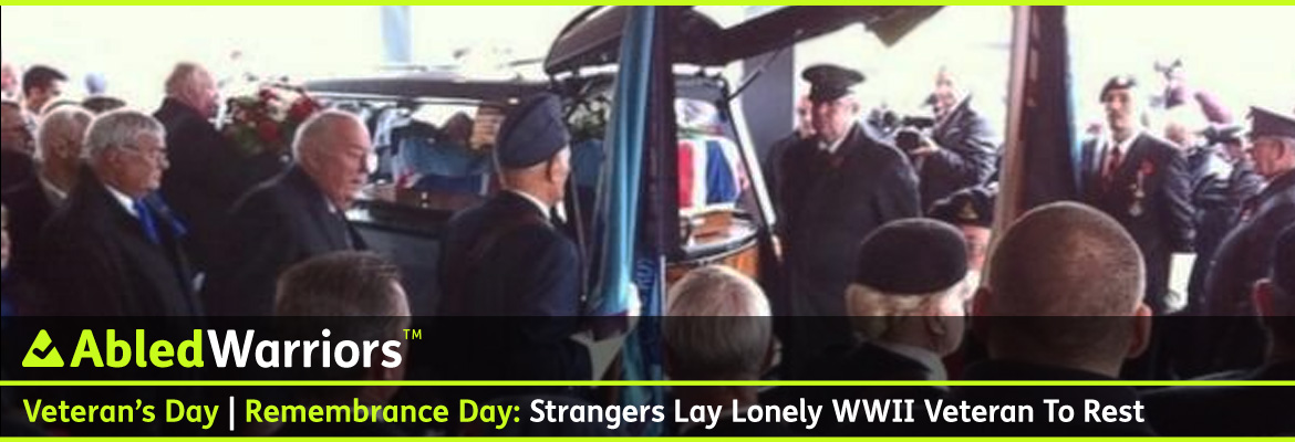 AbledWarriors Post Banner shows a crowd of people gathered at a crematorium in England as the Union Jack draped-casket of a World War Two veteran is about be unloaded from a hearse. The headline reads UK World War Two Veteran: Hundreds of strangers turn up to lay lonely veteran to rest.
