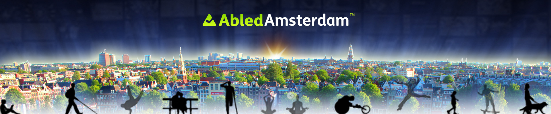 AbledAmsterdam Banner shows a photo of the cityscape with the silhouettes of differently-abled people walking, racing a wheelchair, walking with a guide dog, or sitting along the bottom of the banner with the AbledAmsterdam logo at the top.