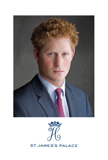 Photo shows official portrait of Prince Harry and his Royal Insignia of a stylized scripted letter H under a crown and the letterhead of ST. Jamess Palace.