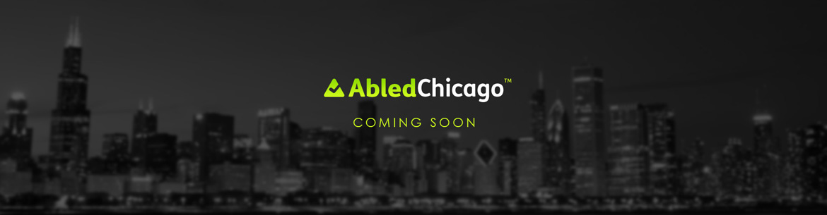A black and white subdued version of the main AbledChicago banner with the words Coming Soon.