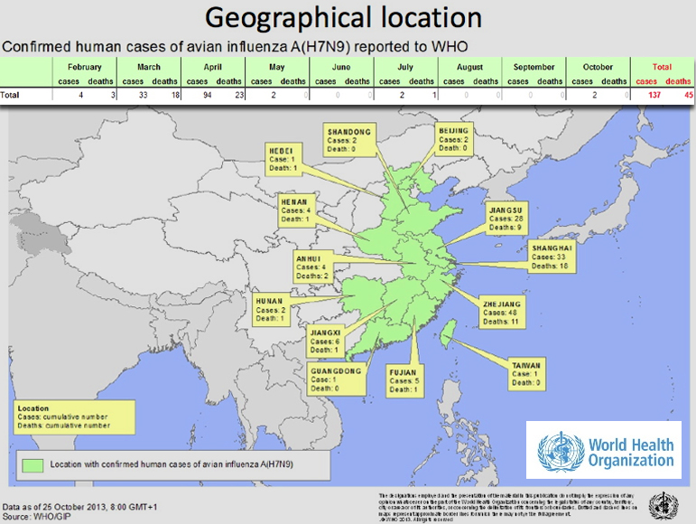 A map of Asia from the World Health Organization shows the locations of confirmed cases of H7N9 infection as of the 25th of October, 2013. The map also details the progression of cases from the beginning of the year with 4 cases and 3 deaths in february; 33 cases and 18 deaths in March; 94 cases and 23 deaths in April; 2 cases in May; no cases or deaths in June; 2 cases and 1 death in July; no cases or deaths in August or September; 2 cases in October for a total to date of 137 cases and 45 deaths.