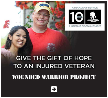 Abled Public Service Ad for Wounded Warrior Project Shows a veteran with his arm around the shoulder of a young woman. It appears that he suffered facial injuries and finger amputations. He is smiling, wearing a yellow cap and red T-shirt. The Wounded Warrior project logo shows the silhouette of a soldier carrying a wounded comrade on his back next to a box containing the words 10 years. The headline text reads A Decade of Service - A Lifetime of Commitment. Give the gift of hope to an injured veteran. Click here to go to the Wounded Warrior Project website.