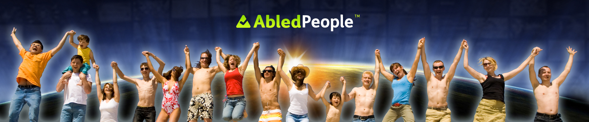 AbledPeople Banner shows a row of people linking hands and jumping in the air at the beach.