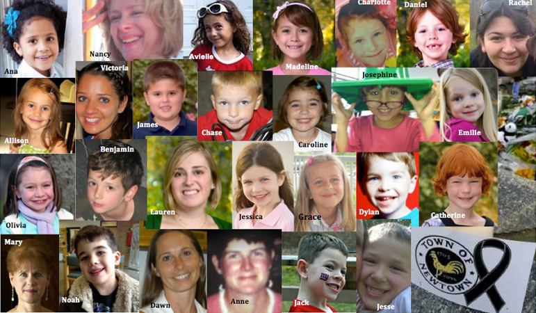 A photo collage shows the faces of the 26 children and educators killed in the Sandy Hook Elementary School Massacre.