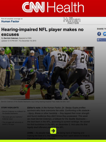 Abled Related Web Coverage Banner link to CNN story on Derrick Coleman. Click here to go to the site.