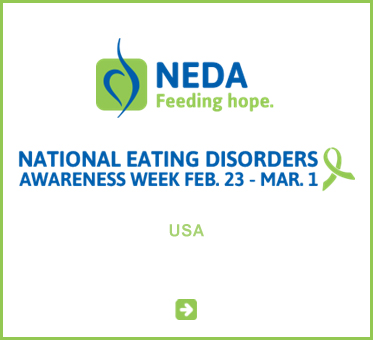 Abled Public Service link to the National Eating Disorders Association in the U.S. - And a green ribbon is paired with the text National Eating Disorders Awareness Week, February 23