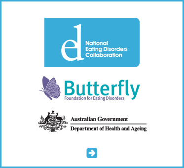 Abled Public Service link to the National Eating Disorders Collaboration of Australia. Also shown are the logos of the Butterfly Foundation for Eating Disorders and the Australian Government Department of Health and Ageing. CLick here to go to their website.