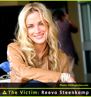 AbledNews Photo shows The Victim: Reeva Steenkamp wearing a tan leather jacket with her right arm resting on her crossed knee. She has long wavy blonde hair and a pretty face and is smiling at the camera.
