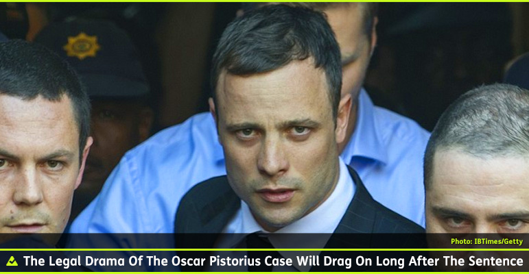 Abled Photo shows Oscar Pistorius outside the North Gauteng High Court in Pretoria on the second day of the verdict being read in his murder trial. He is wearing a white shirt and dark tie with the black chalk-striped suit and is surrounded by bodyguards. The caption reads: The legal drama of the Oscar Pistorius Case will drag on long after the Sentence.