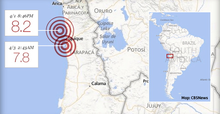 AbledNews-Map from CBS shows the west coast of Chile and two locations of radiating red rings showing the epicenters of the main earthquake that hit Tuesday and the aftershock that followed on Wednesday.