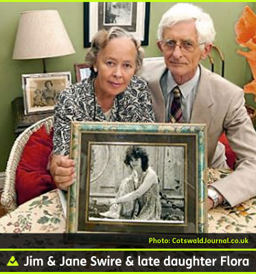 AbledCoping photo shows Dr. Jim Swire and his wife Jane sitting in their home holding a framed photo of their daughter Flora who died in the bombing of Pan Am Flight 103 over Lockerbie Scotland in 1988.