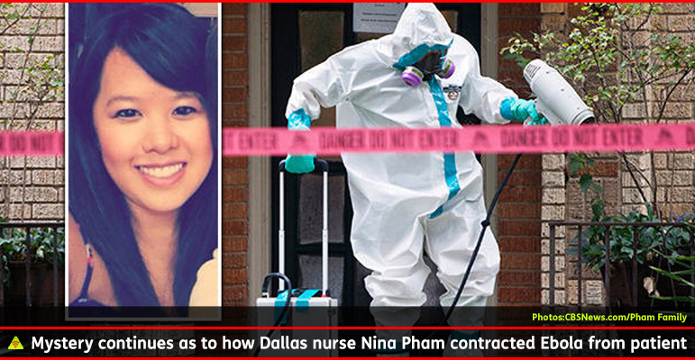 AbledALERT photo shows Dallas nurse Nina Pham in the foreground while a health worker in protective gear is shown in the background emerging from the building where Pham lives in an apartment as officials remove the contents and sterilize the unit. The caption reads Mystery continues as to how Dallas nurse Nina Pham contracted Ebola from patient.