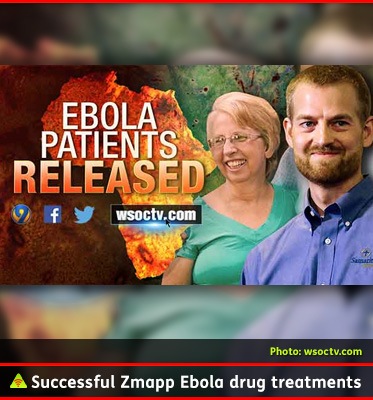 AbledALERT photo shows a television news graphic from wsoctv.com that shows two American aid workers - Dr. Kent Brantly and missionary Nancy Writebol with the title 'Ebola Patients released- over an image of a fire edited into the shape of the African continent.