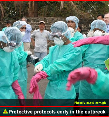 AbledALERT photos shows a group of health workers in West Africa donning turquoise medical garments and face masks similar to those worn by painters. They have also put on surgical hairnets , goggles and bright pink rubber gloves. The caption reads: Protective protocols early in the outbreak.
