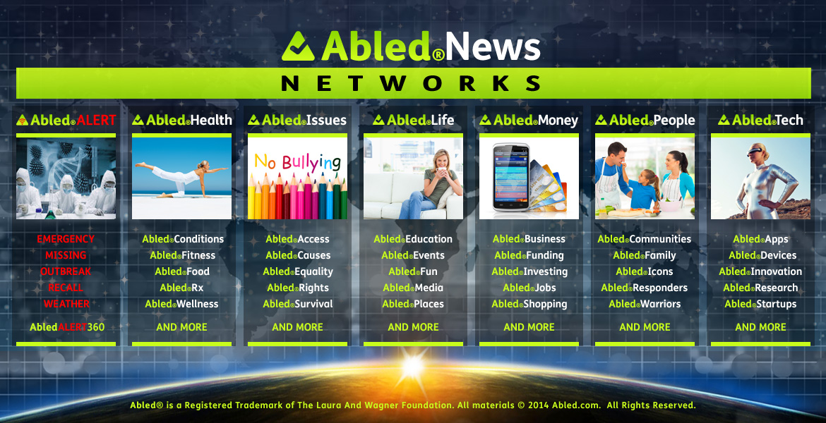 AbledNews Networks banner shows 7 rows of categories set against a digitized map of the world blended with a starry sky above a view of the Earth at sunrise as seen from space. The Networks are: AbledAlert, AbledHealth, Abled Issues, AbledLiving, AbledMoney, AbledPeople and AbledTech.