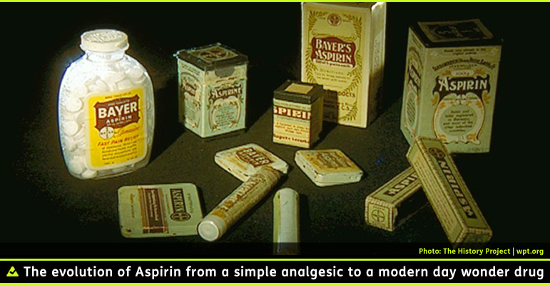 AbledRx: Photo shows acollection of vintage boxed bottles and tubes of Bayer Aspirin. The caption reads: The evolution of Aspirin from a simple analgesic to a modern day wonder drug.