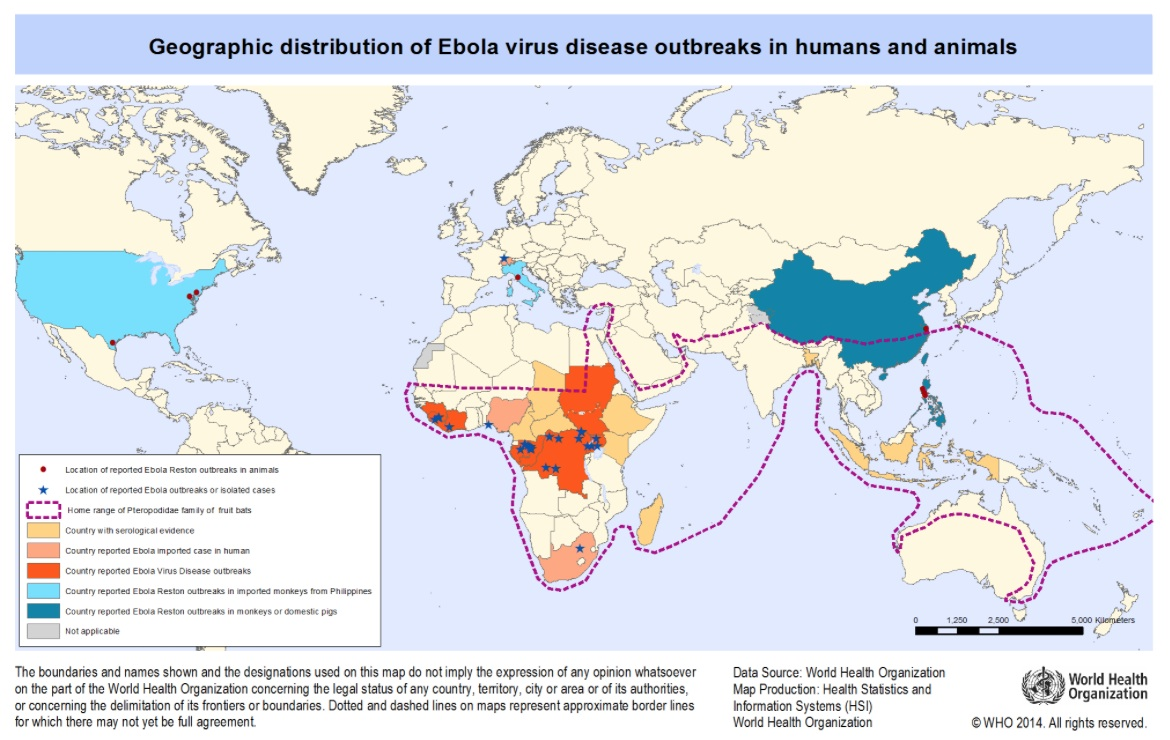 Map from the world health organization shows the geographic distribution of Ebola Virus Disease outbreaks in humans and animals. Countries in Africa and Malaysia are shown in yellow as having serological evidence, while some countries such as the United States and Italy are shown in blue because of reporting Ebola reston outbreaks in imported monkeys from the Philippines. A dotted purple chain surrounds sub-Saharan African, the lower edge of the Arabian peninsula, India and from the northern edge of Australia to the southern tip of Japan, to outline the range of the Pleropodidae family of fruit bats which are thought to be hosts for the Ebola virus.