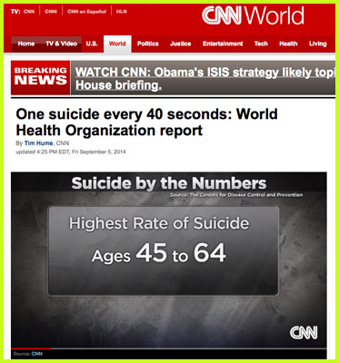 Abled Web link to a story on CNN about a new report on suicide. The headline reads: One suicide every 40 seconds: Word Health Organization report. ACNN graphic titled Suicide By The Numbers sources the U.S. Centers for Disease Control and Prevention in reporting the highest rate of suiciide among people aged 45 to 64. Click here to go to the web page.