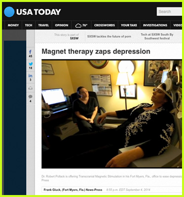 Abled Wed links shows a story from USA Today. A photo shows a woman sitting in a specialized chair chair and is leaning her head back into an apparatus.. The headline reads: Magnet Therapy Zaps Depression. The photo caption reads: Dr. Robert Pollack is offering Transcranial Magnetic Stimulation in his Fort Meyers, Florida office to ease depression in local patients. CLick here to go to the web page.