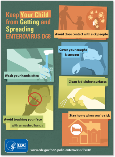 AbledALERT-Inforgraphic from the U.S. Centers for Disease Control and Prevention is titled: Keep Your Child From Getting And Spreading Enterovirus D68. It shows 6 illustrated panels. The first shows a silhouette of an adult standing and holding hands with a child while another child sneezes into a tissue with enlarged illustrations of viruses enclosed in a colored circle around her. The caption reads: Avoid close contact with sick people. The other steps are: Wash your hands often; Cover your coughs and sneezes; Avoid touching your face with unwashed hands; Clean and disinfect surfaces; Stay home when you're sick.