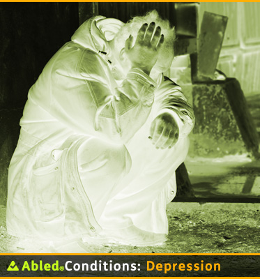 AbledConditions: Depression: Photo shows a gradient green colorized photo of a man sitting in a squat position holding his right hand to his head.