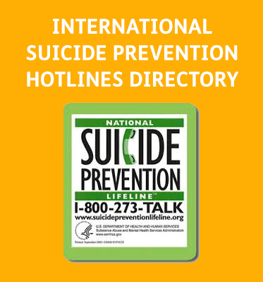 AbledGFX: International Suicide Hotlines Directory shows an insert from the U.S. National Suicide Prevention Lifeline 1-800-273-TALK . Their website is www.suicidepreventionlifeline.org.