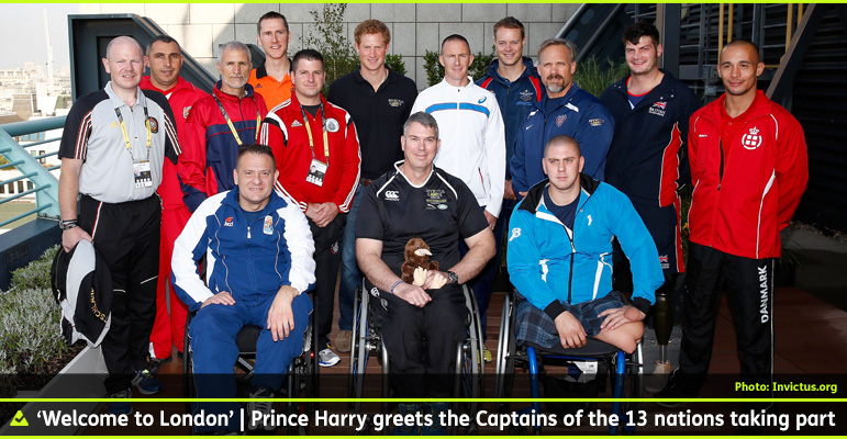 AbledWarriors: Invictus Games photo shows Prince Harry at a royal reception pictured with the Captains of the teams from 13 countries that will compete in the very first Invictus Games in London.