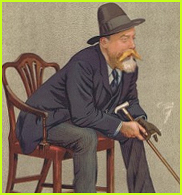 AbledWarriors: Invictus Games: Photo shows an illustrated portrait of William Ernest Henley, the author of the poem 'Invictus'. He is leaning forward in an armchair dressed in a blue waistcoat shirt and dark tie with grey striped trousers. He is wearing a flat brimmed brown hat with a high rounded center and has a bright blonde mustache that flares out from his blonde and white beard. He is holding a walking stick in his right hand and his left gloved hand is holding a cigarette that is giving off smoke. The portrait is by Leslie Ward and was published in Vanity Fair on November 26, 1892 as 'Men of the Day' Number 551.