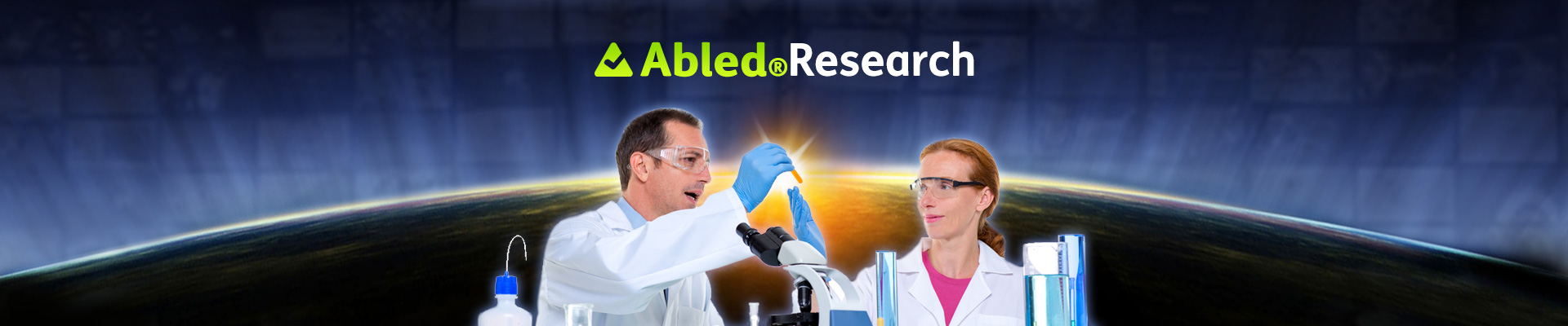 AbledResearch Banner shows two scientists sitting by a microscope in a lab checking a vial of something. The image is in the foreground with a photo of the earth at sunrise as seen from space with the AbledResearch logo at the top.