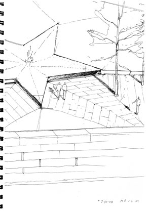 AbledWarriors photo shows one of the early ink pen sketches of the design concept for the American Veterans Disabled For Life Memorial designed by Michael Vergason of Michael Vergason Landscape Architects. It shows part of the outside wall and the ceremonial flame in the center of the granite star.