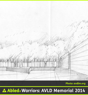AbledWarriros F A Q Photo for THE DESIGN shows one of the early sketches for the memorial showing the edge of the granite star with the inscribed main wall to the right.