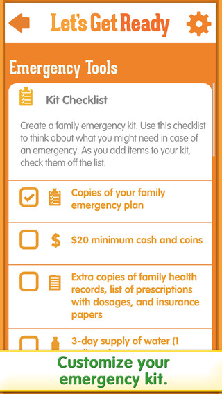 AbledKids photo shows another screen grab from the Sesame Street Emergency Preparedness Kit called Let's Get Ready , that includes instructions of how to prepare a family emergency kit and checklist. Click here to go to the app's iTunes page.