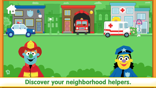 AbledKids photo shows another screen grab from the Sesame Street Emergency Preparedness Kit app that shows a fireman and policewoman drawn as Muppet characters standing in front of bushes and a grassy lawn with a police station, fire hall and hospital with their respective vehicles in the background. Click here to go to the Android app page for 'Let's Get Ready' at Google Play.