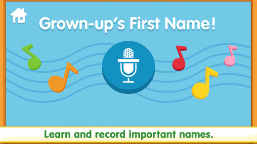 AbledKids photo shows another screen grab from Sesame Street's iOS app for children called 'Let's Get Ready'. This panel shows a microphone icon on a wavy musical stanza surrounding by different colored notes with the title: 'Grown-up's First Name!', while the instruction at the bottom of the frame says 'Learn and record important names.
