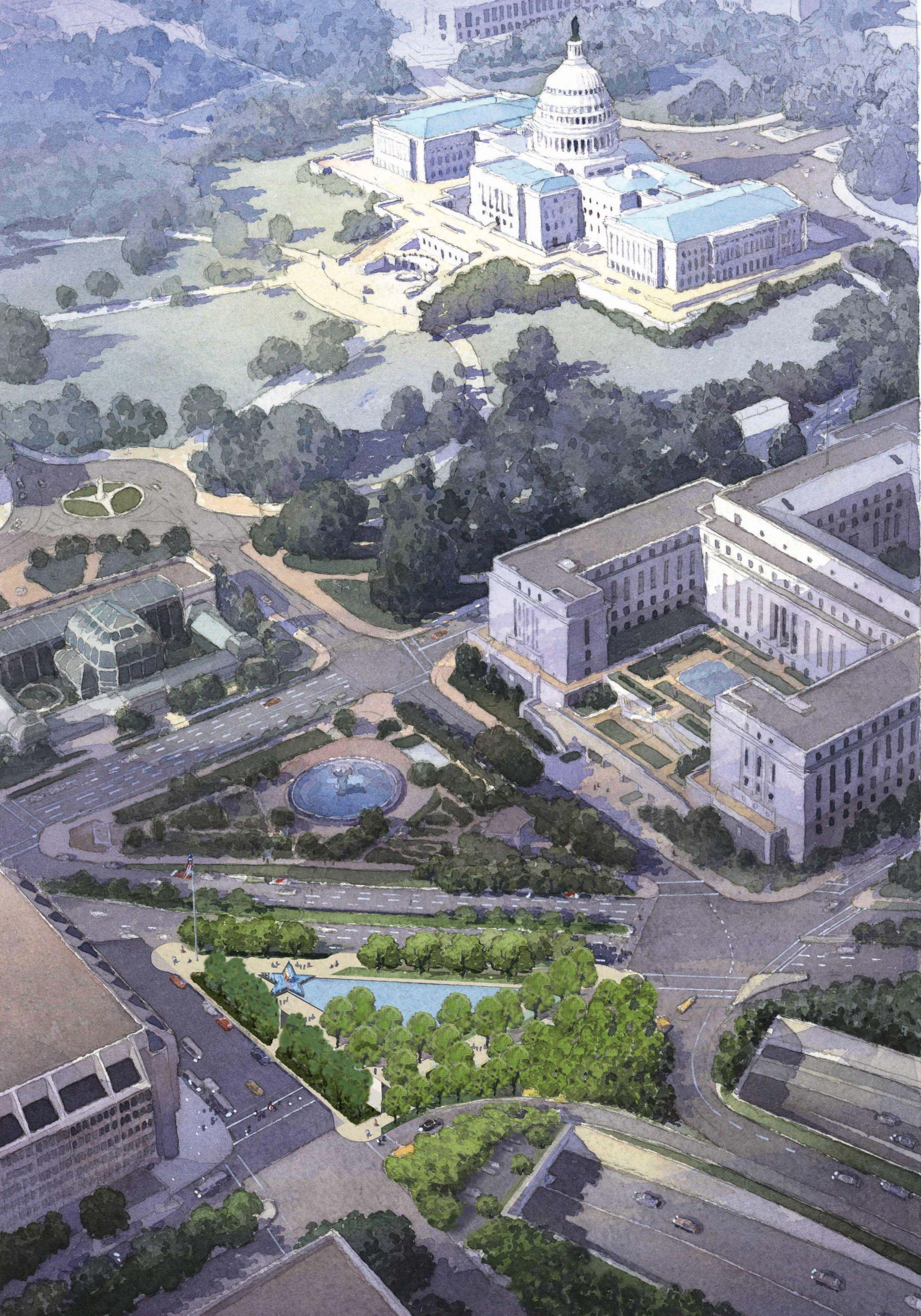 AbledWarriors photo shows a watercolor rendering by Michael Vergason Landscape Architects of their design for The American veterans Disabled For Life Memorial in Washington, D.C. The watercolor is done as an aerial view of the site with the U.S. Capitol building in the distance in the top right corner. The site is a rectangular space with a fountain in the shape of a granite star and a reflecting pool bordered on one side by stone walls with various inscriptions and etched glass panels with bronze sculptures surrounded by a grove of trees.