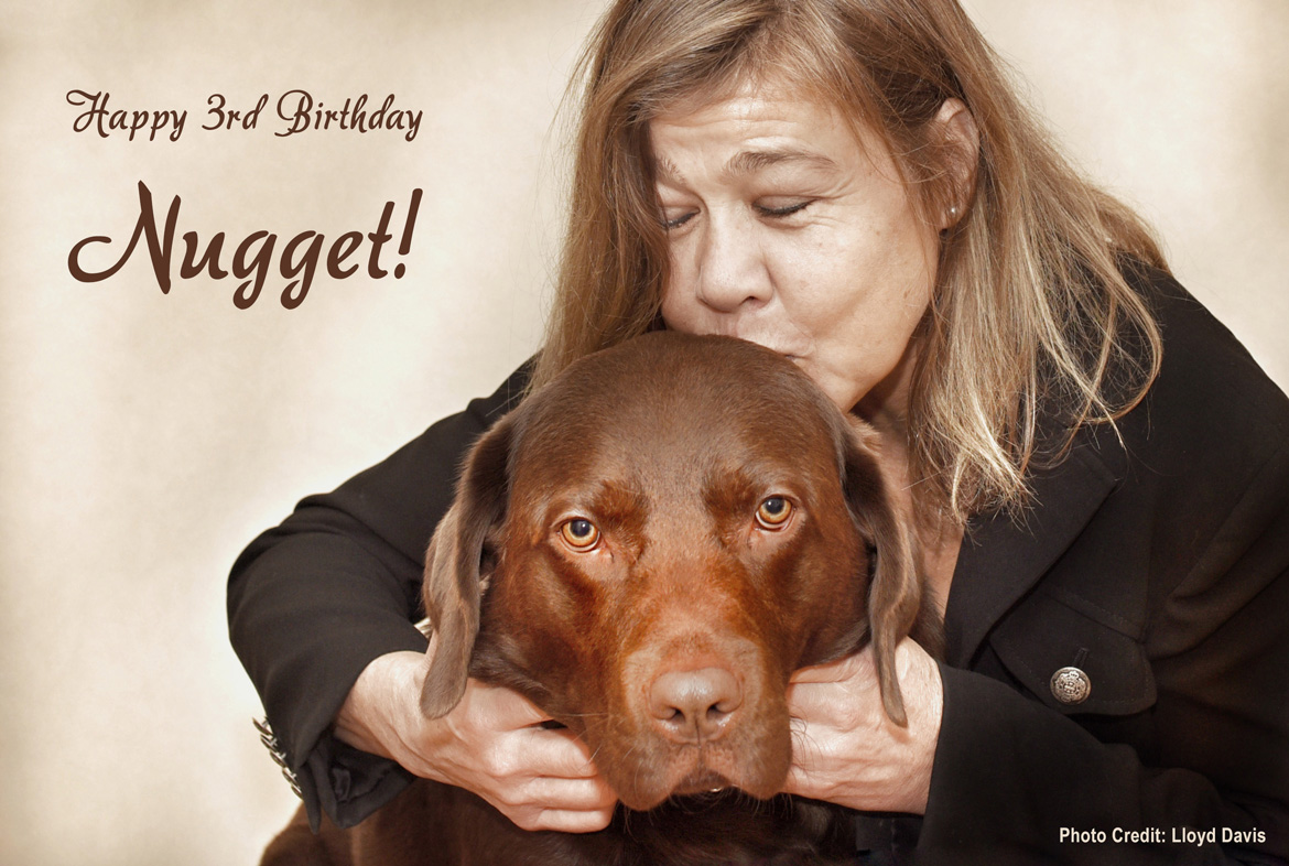 Sepia tone photograph shows Laura Meddens kissing her Seeing Eye guide dog Nugget on the head. The text reads, Happy 3rd Birthday Nugget. Nugget is a Chocolate Labrador retriever.