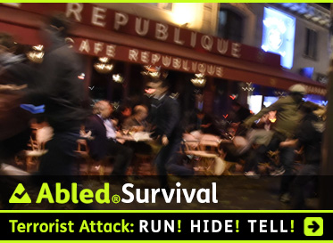 AbledSurvival link box shows a blurred photograph of people running past the Café Republique during the recent terrorist attacks in Paris. The headline reads: Terrorist Attack: Run! Hide! Tell!. Click the box to go to the story