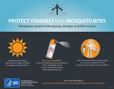 CDC poster titled Protect Yourself From Mosquito bites -Mosquitoes spread Chikungunya, Dengue and Zika viruses. Under an illustration of the sun, the text reads: Mosquitoes that spread Chikungunya, Dengue and Zika are aggressive daytime biters. Under an illustration of a can of insect spray the text reads: Use insect repellent. Look for the following active ingredients: DEET; PICARIDIN; IR3535;OIL of LEMON EUCALYPTUS; PARA; METHANE; DIOL. Under an illustration of clothing, the text reads: Wear long-sleeved shirts and long pants or use insect repellent. For extra protection, treat clothing with permethrin.