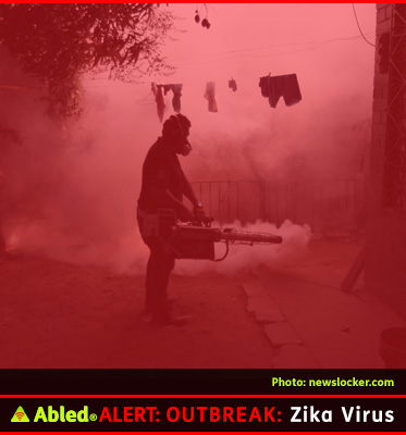 Abled FAQ Box - Zika Virus shows the silhouette of a man using a portable fogger to spray insecticide meant to kill the mosquitoes that transmit Zika Virus.