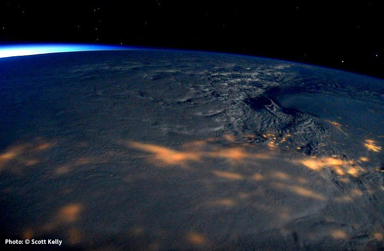 Photo of Winter Storm Jonas at night from the International Space Station by Scott Kelly.