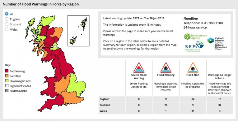 Graphics map of UK Flood Warnings. Click to get detailed information from the Metro weather office.