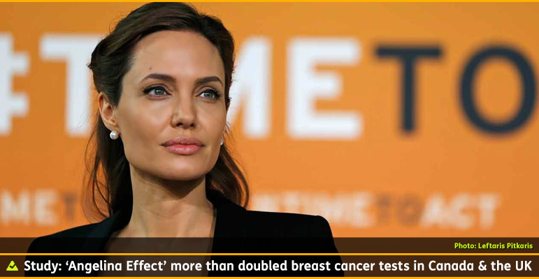 AbledPeople photo shows UN Special Envoy Angelina Jolie posing for photographers as she arrives at the 'End Sexual Violence in Conflict' summit. The caption reads: Study: 'Angelina Effect' more than doubled breast cancer tests in Canada and the UK.