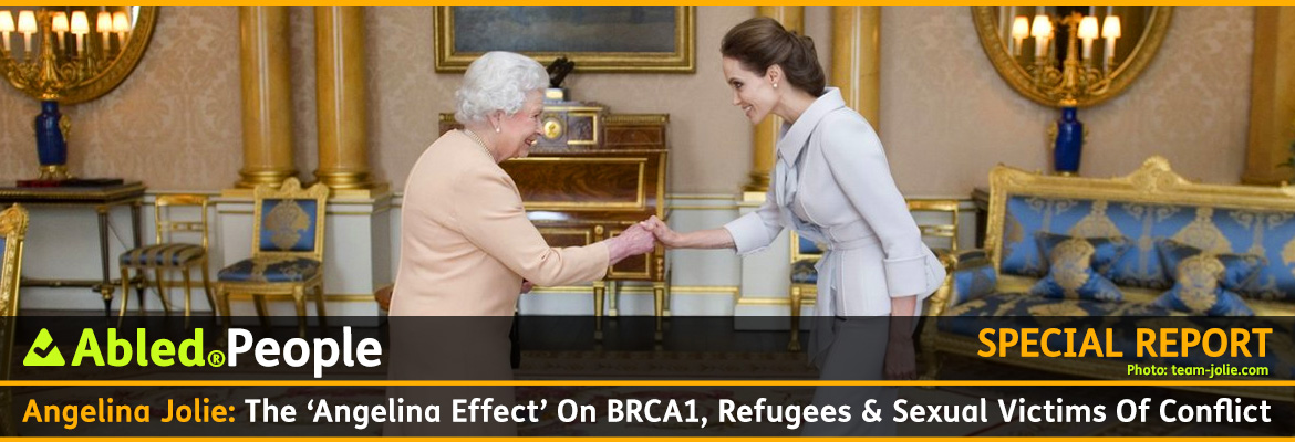 AbledPeople Special Report Post Banner shows Angelina Jolie in a grey suit dress shaking hands with Queen Elizabeth The Second of Great Britain, who is wearing a beige peach dress, in a drawing room at Buckingham Palace. The Queen presented Jolie with the Insignia of an Honorary Dame Grand Cross of the Most Distinguished Order of St. Michael and St. George for her campaign to end sexual violence in war zones.