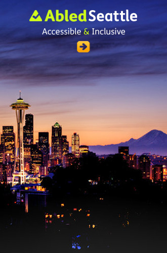 Abled Seattle box link. Image shows the city at dusk with Mount Rainier in the distance.