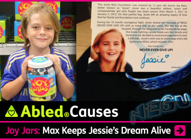 AbledCauses post link box shows a photo of Max Page ('Lil Darth Vader') holding a Joy Jar filled with trinkets, toys and inspirational messages for sick children in hospital. A photo card forms the other half of the picture and shows Jessie Rees who originated the idea of Joy Jars before losing her battle with cancer. The headline reads: Joy Jars: Max Keeps Jessie's Dream Alive. Click here to go to the post.